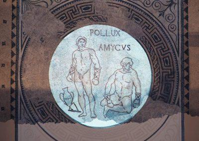 Foto 14: La ricostruzione virtuale del mosaico con raffigurazione di pugili, marmi differenti, metà I sec. a.C.